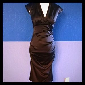 Xscape Black Plunging VNeck Stretch Midi Dress 8